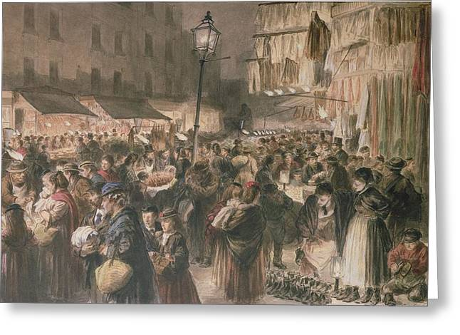 Poor People Greeting Cards - Lambeth Market Greeting Card by Godefroy Durand