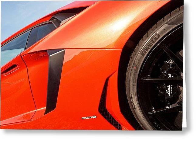 Garage Wall Art Greeting Cards - Lamborghini Aventador LP700 -4 Greeting Card by Gill Billington