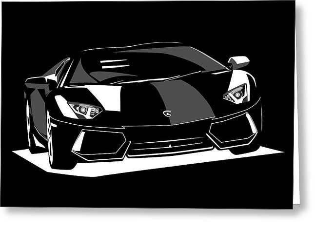 Race Digital Greeting Cards - Lamborghini Aventador Greeting Card by Michael Tompsett