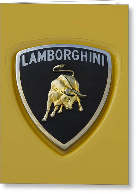 Italian Marque Greeting Cards - Lamborghini Emblem 2 Greeting Card by Jill Reger