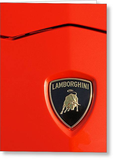 Wall Image Greeting Cards - Lamborghini Emblem on an Aventador Greeting Card by Gill Billington