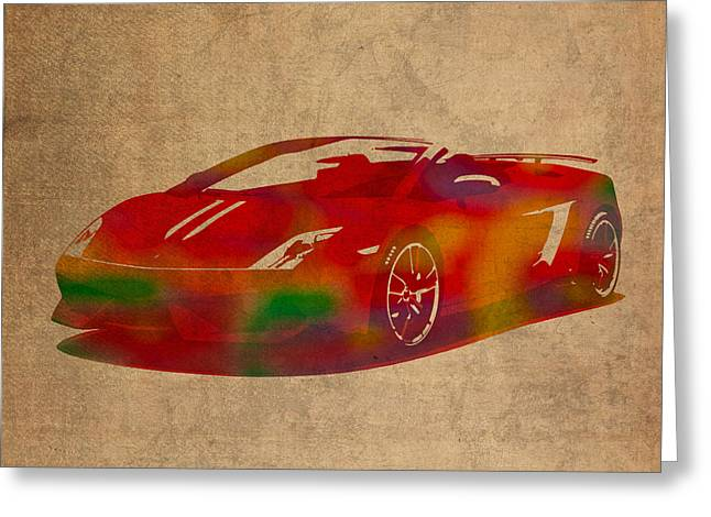 Sports Wear Greeting Cards - Lamborghini Gallardo 2013 Classic Sports Car Watercolor on Worn Distressed Canvas Greeting Card by Design Turnpike