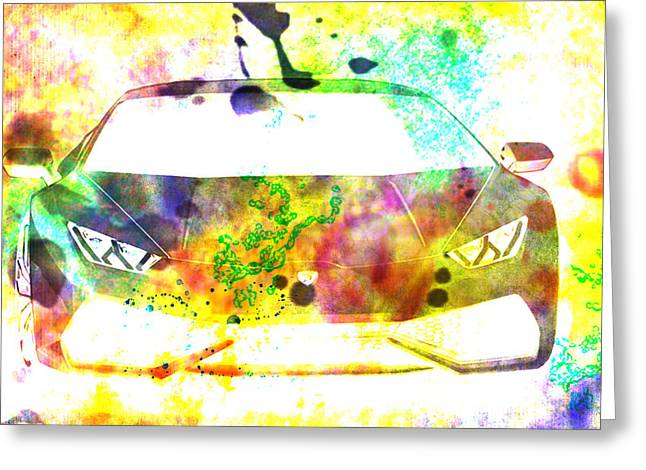 Headlight Drawings Greeting Cards - Lamborghini huracan colorful abstract painting Greeting Card by Eti Reid