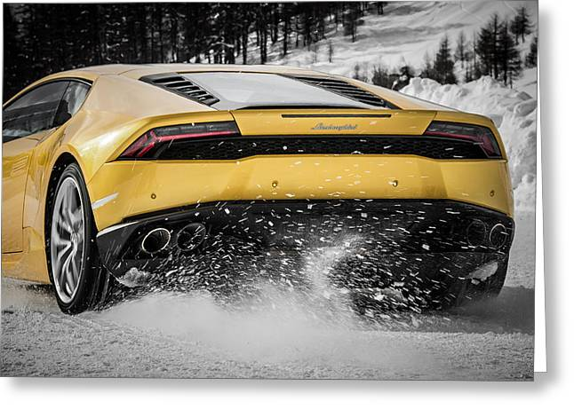 Noise . Sounds Greeting Cards - Lamborghini Huracan Greeting Card by Giulio Tarquinio