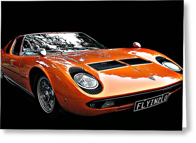 Lamborghini Miura S Greeting Card by Samuel Sheats