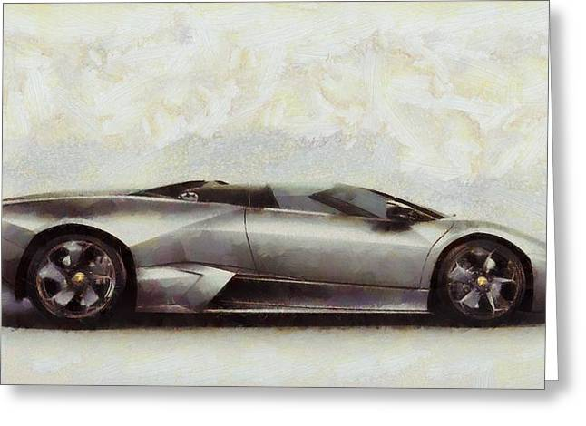 Manufacturing Paintings Greeting Cards - Lamborghini Reventon Greeting Card by Dan Sproul
