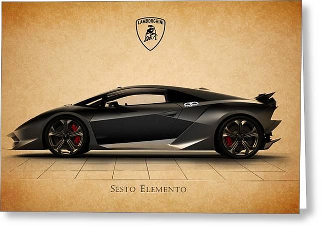 Italy Greeting Cards - Lamborghini Sesto Elemento Greeting Card by Mark Rogan