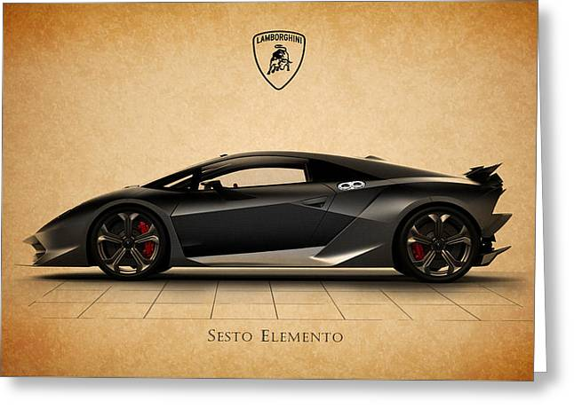 Transport Greeting Cards - Lamborghini Sesto Elemento Greeting Card by Mark Rogan
