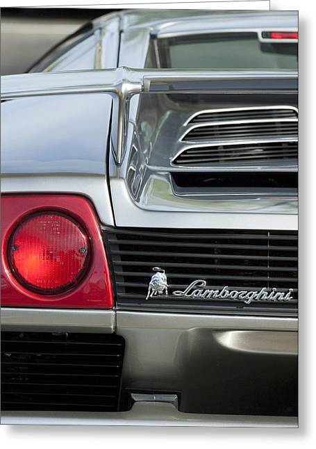 Italian Marque Greeting Cards - Lamborghini Taillight Emblem Greeting Card by Jill Reger