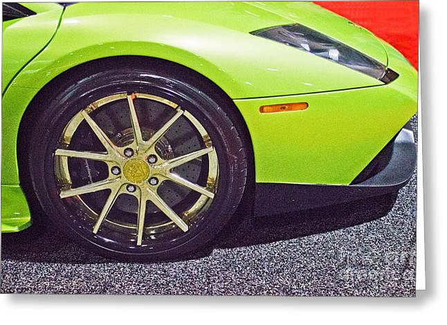 Ithaca Greeting Cards - Lamborghini Verde  Greeting Card by Tom Gari Gallery-Three-Photography