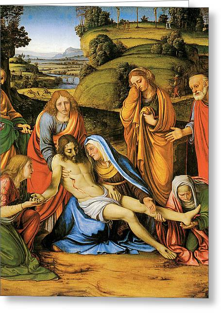 Calvary Greeting Cards - Lamentation Greeting Card by Andrea Solario