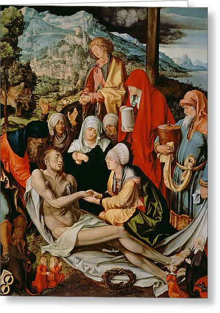 Christ Child Greeting Cards - Lamentation For Christ, 1500-03 Oil On Panel Greeting Card by Albrecht Dürer or Duerer