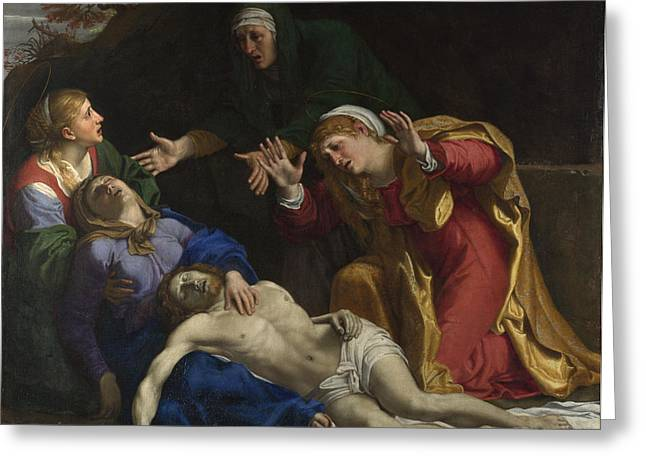 Lamentation Greeting Cards - Lamentation of Christ Greeting Card by Annibale Carracci