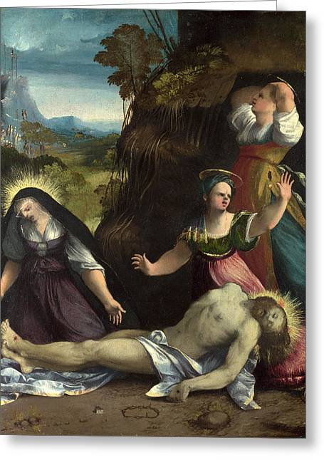 Lamentation Greeting Cards - Lamentation over the Body of Christ Greeting Card by Dosso Dossi