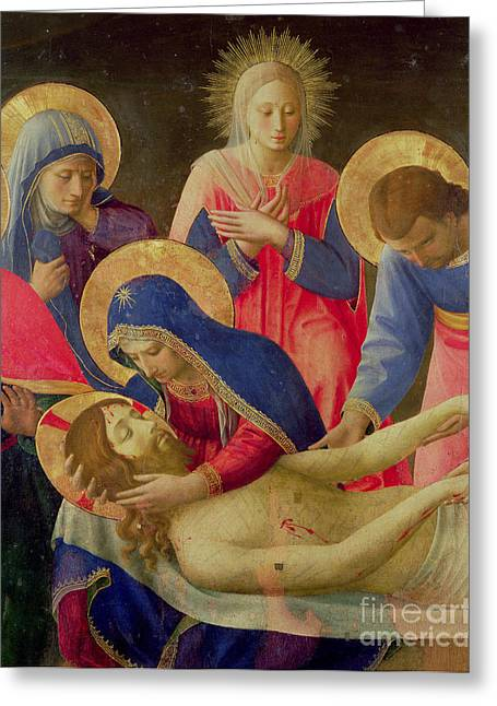 Lamentation Greeting Cards - Lamentation over the Dead Christ Greeting Card by Fra Angelico