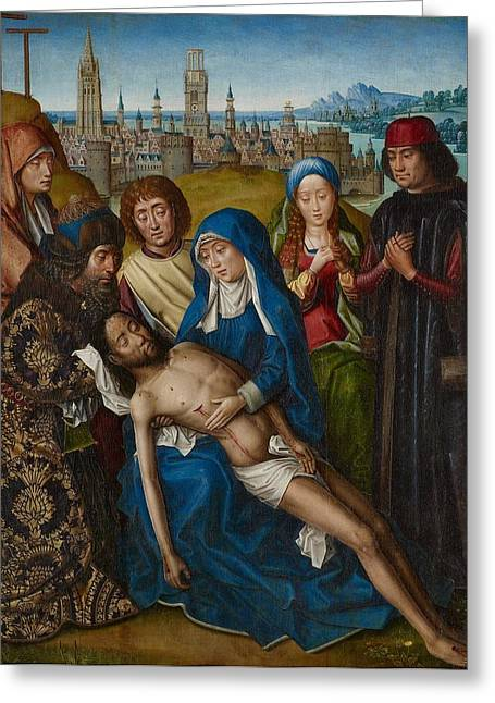 Prayer Cards Greeting Cards - Lamentation with Saint John the Baptist and Saint Catherine of Alexandria Greeting Card by Master of the Legend of Saint Lucy