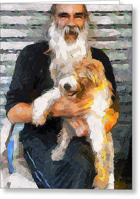 Lamma Island Nick The Booker With His Dog Greeting Card by Yury Malkov