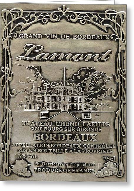 Red Wine Bottle Mixed Media Greeting Cards - Lamont Grand Vin De Bordeaux  Greeting Card by Jon Neidert