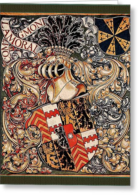 Coa Greeting Cards - Lamoral Count of Egmont Medieval Coat of Arms Greeting Card by Serge Averbukh
