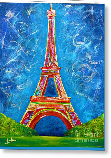 Gold Lime Green Greeting Cards - Lamour a Paris Greeting Card by Teshia Art