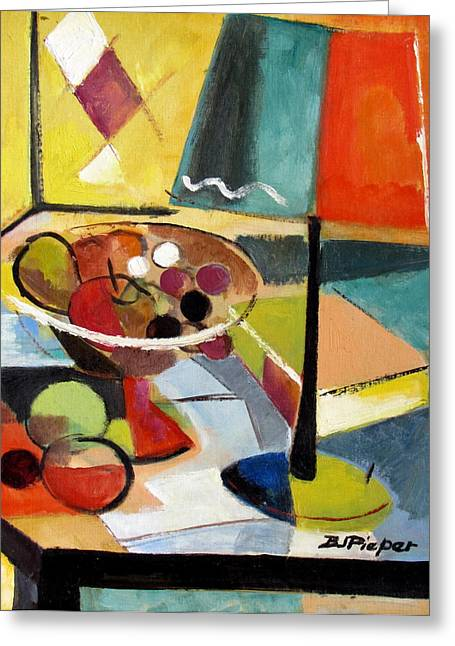 Essential Paintings Greeting Cards - Lamp and Book with Fruit at Hand Greeting Card by Betty Pieper