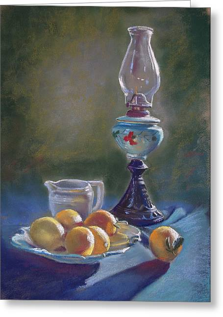 Lynda Robinson Greeting Cards - Lamp and Lemons Still Life Greeting Card by Lynda Robinson