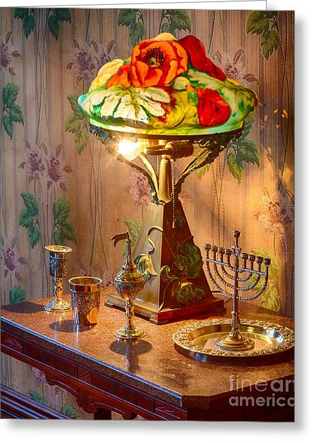 Pioneer Homes Photographs Greeting Cards - Lamp and Menorah Greeting Card by Inge Johnsson