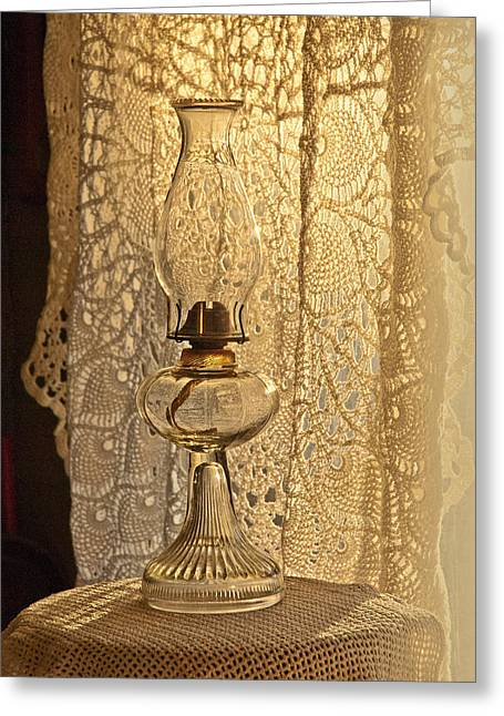 Shadows Tapestries - Textiles Greeting Cards - Lamp by the window Greeting Card by Lena Wilhite