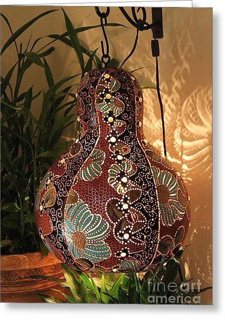 Plant Ceramics Greeting Cards - Lamp IDEA Greeting Card by Qasir Z Khan