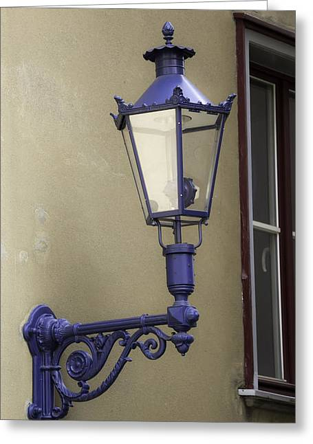 Prussian Blue Greeting Cards - Lamp in Cologne Greeting Card by Teresa Mucha