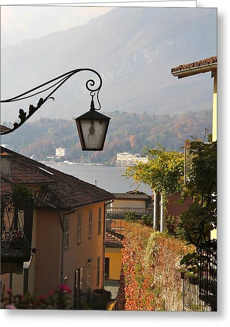 Rebecca Baker Greeting Cards - Lamp in Lake Como Greeting Card by Rebecca Baker