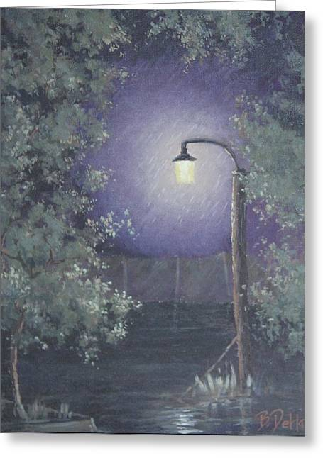 Streetlight Greeting Cards - Lamp in the Rain Greeting Card by Benjamin DeHart
