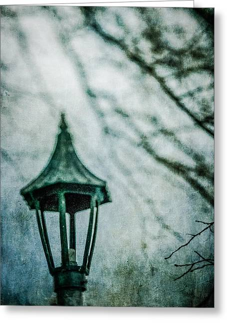 Gloomy Winter Greeting Cards - Lamp in Winter Greeting Card by YoPedro