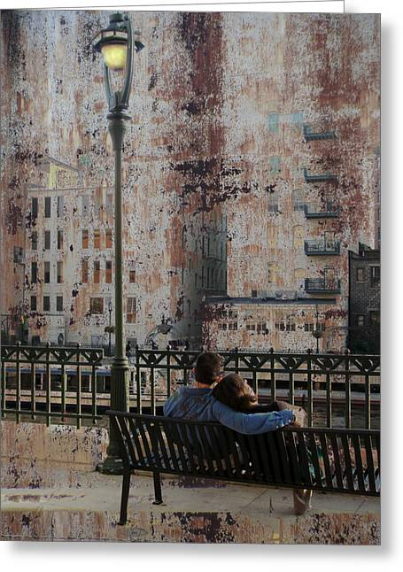 Riverwalk Digital Art Greeting Cards - Lamp Post and Couple on Bench Greeting Card by Anita Burgermeister