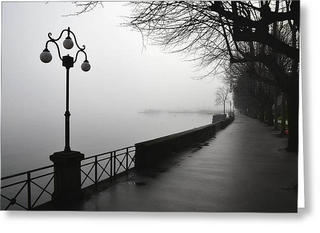 Swiss Culture Greeting Cards - Lamp Post And Trees On A Promenade Greeting Card by Mats Silvan