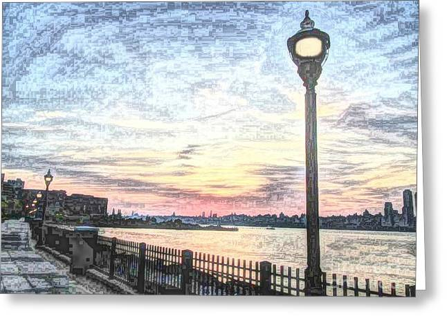 City Scapes Greeting Cards Greeting Cards - Lamp Post Beauty in the Sun Rise 2 Greeting Card by Becky Lupe