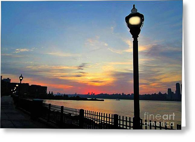 City Scapes Greeting Cards Greeting Cards - Lamp Post Beauty in the Sun Rise Greeting Card by Becky Lupe