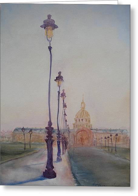 Street Scenes Photographs Greeting Cards - Lamp Post In Front Of Dome Church, 2010 Oil On Canvas Greeting Card by Antonia Myatt