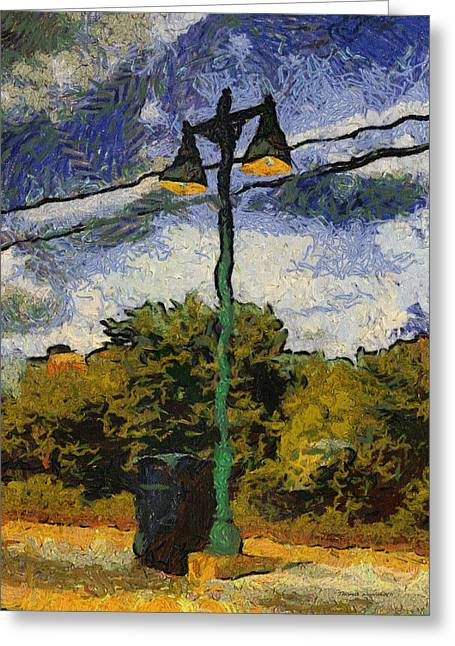 Van Gogh Style Photographs Greeting Cards - Lamp Post Photo Art 04 Greeting Card by Thomas Woolworth