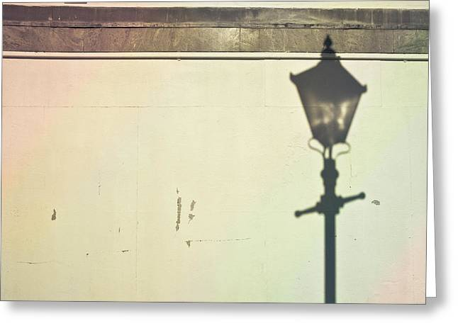 Lamp Post Shadow Greeting Card by Tom Gowanlock
