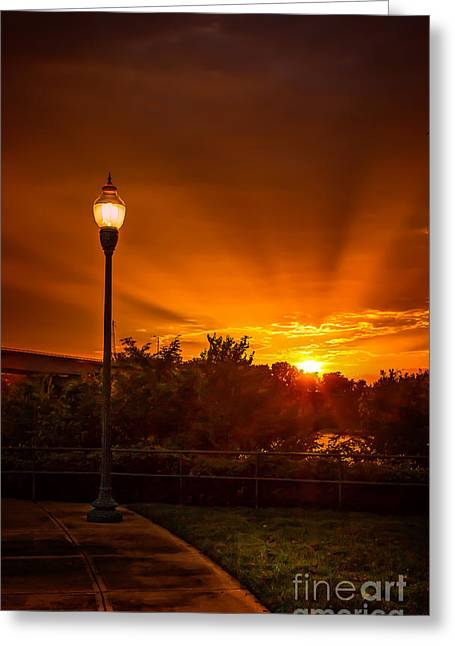Fort Smith Arkansas Greeting Cards - Lamp Post Sunset Greeting Card by Larry McMahon