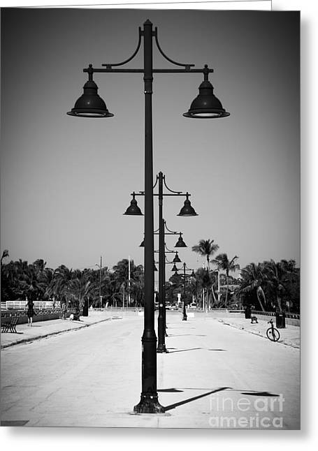 Liberal Greeting Cards - Lamp Posts White Street Pier Key West - Black and White Greeting Card by Ian Monk
