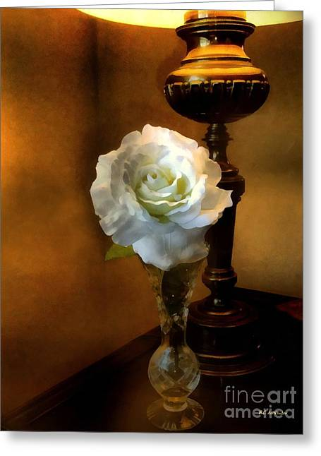 Lamplight Rose Greeting Card by RC deWinter