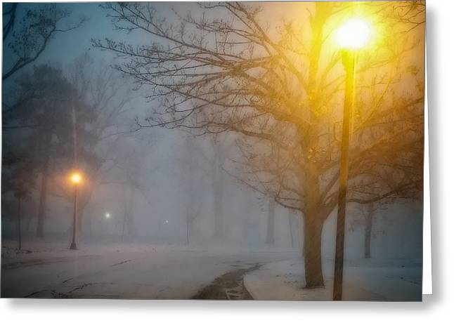Park Scene Greeting Cards - Lamppost Snowscape Greeting Card by Chris Bordeleau