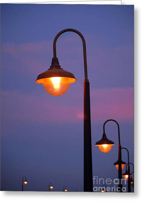 Santa Cruz Wharf Greeting Cards - Lampposts Greeting Card by Debra Thompson