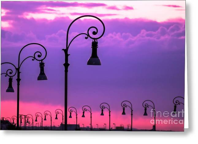 Storm Prints Greeting Cards - Lampposts in Purple Greeting Card by Prints of Italy