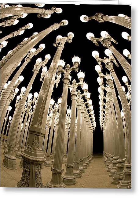 Night Lamp Greeting Cards - Lampposts Greeting Card by Robert Jensen