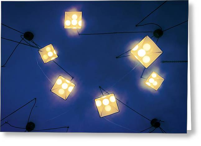 Night Lamp Greeting Cards - Lamps Hanging From Ceiling Greeting Card by Mikel Martinez de Osaba