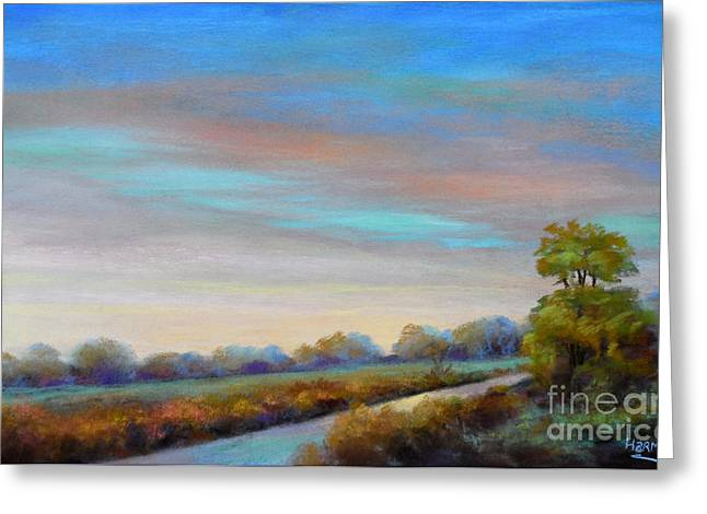 Evening Lights Pastels Greeting Cards - Lancashire sky Greeting Card by Heather Harman
