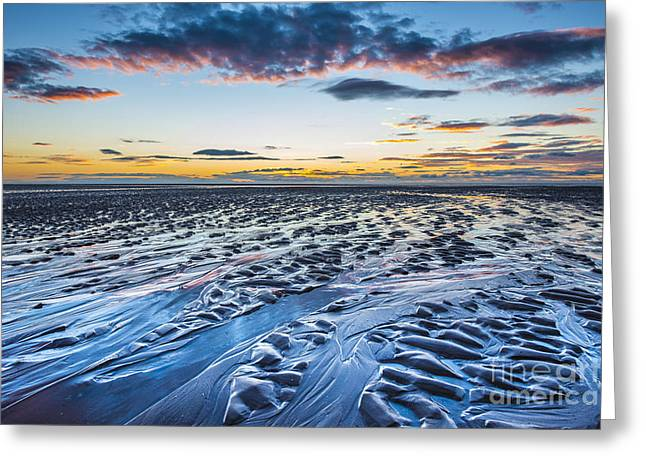 Ripples In The Sand Greeting Cards - Lancashire sunset 3 Greeting Card by Tim Gartside